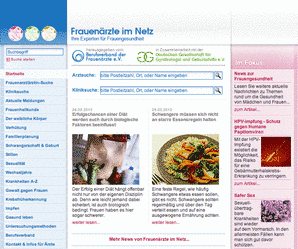 Screenshot des Patienteninformationsportals Frauenärzte im Netz