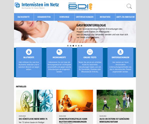 Screenshot des Patienteninformationsportals Internisten im Netz